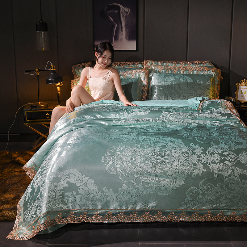 NIEUWE Hot Jacquard Bedlinnen Queen King Size dekbedovertrek Set Imitatie Zijde Katoenen Beddengoed Sets Luxe goud Kleur lace gift-in Beddengoed sets van Huis & Tuin op  Groep 1