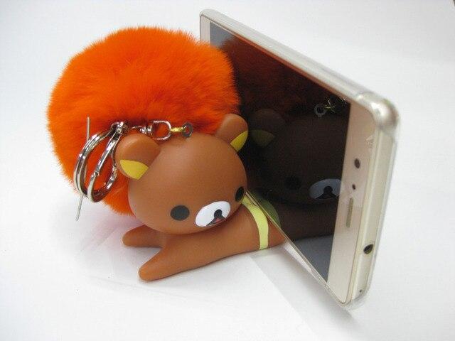 Новый натуральный мех животных брелки резиновые обезьяна медведь помпоном мяч Мобильный Телефон Держатели Стенды девушка куклу мешок кулон помпон брелок