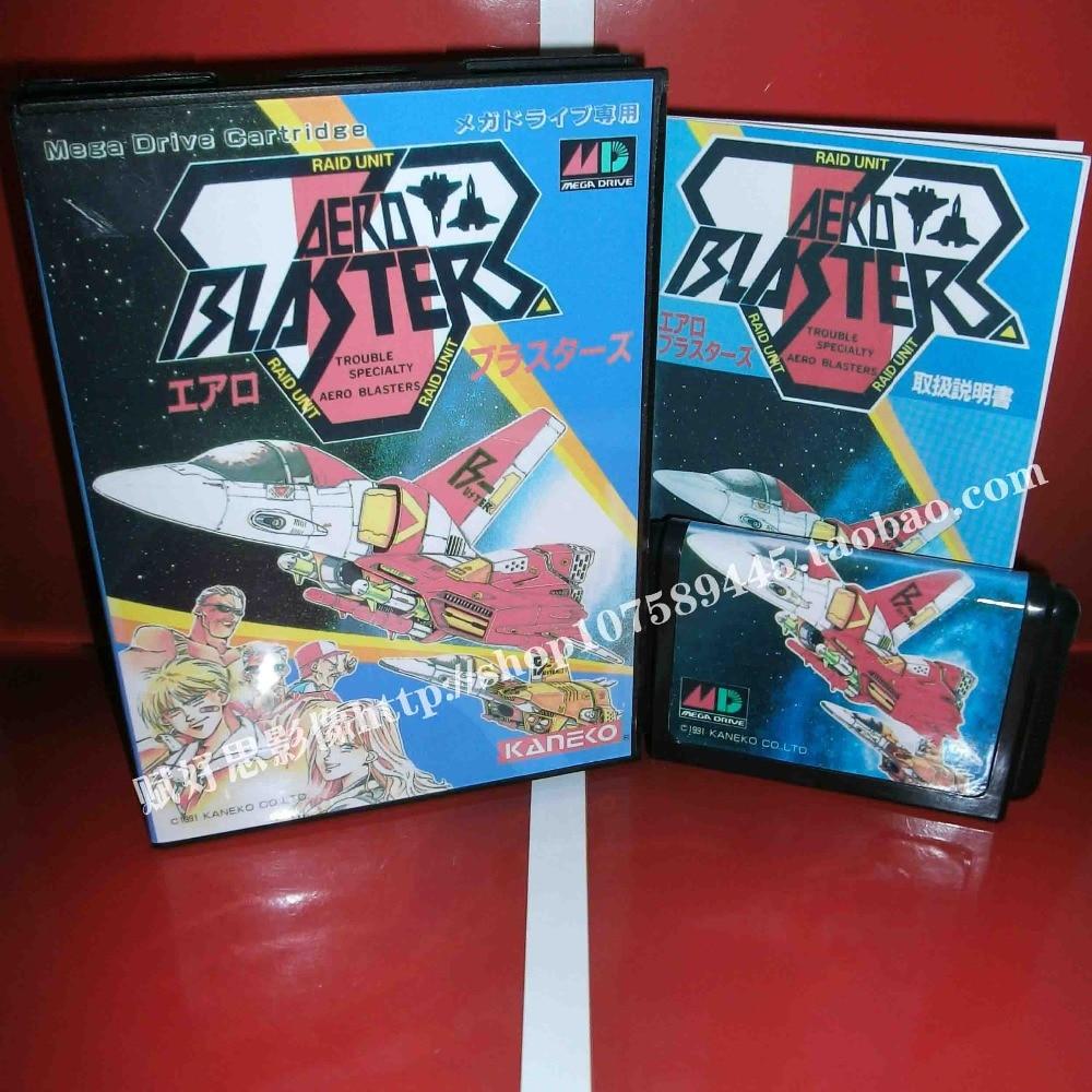 Aero Busters Game cartridge with Box and Manual 16 bit MD card for Sega Mega Drive for Genesis