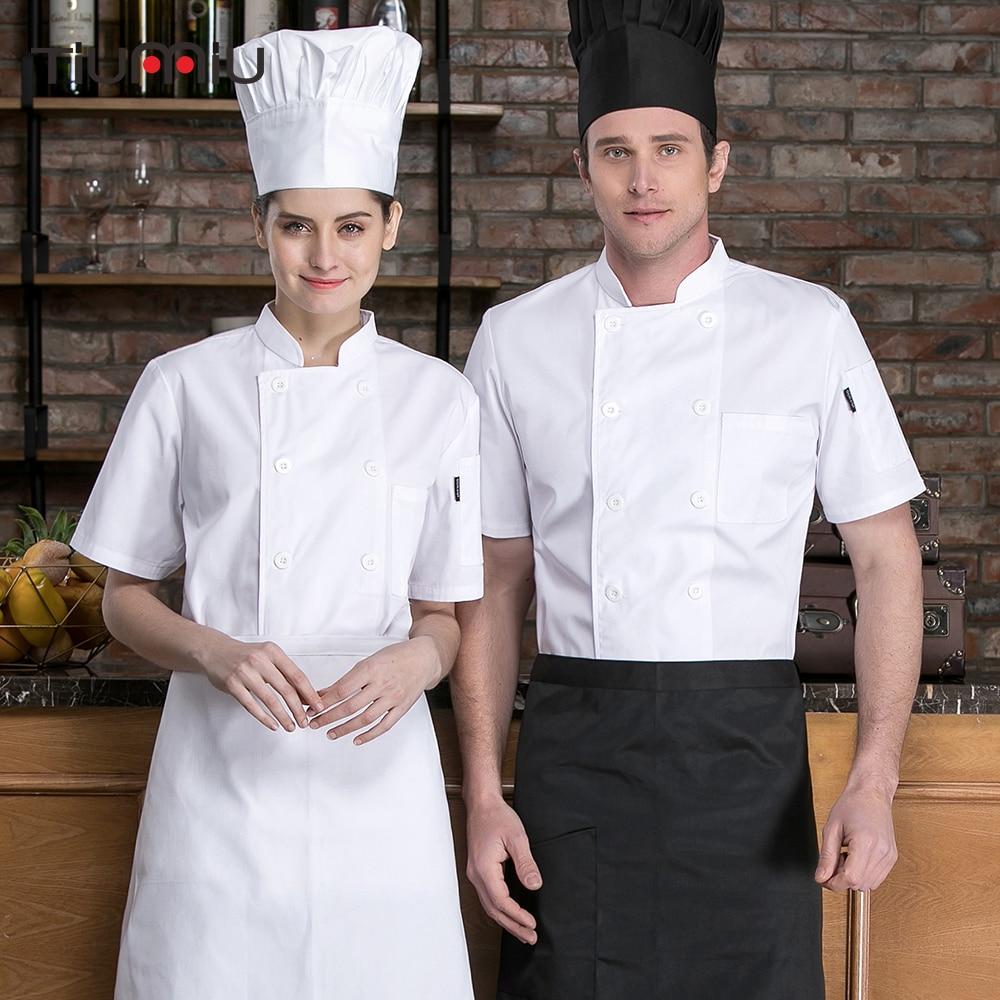White Chef Jacket Short Sleeve Cotton Chef Shirt Restaurant Uniform Catering Kitchen Cooking Bakery Sushi Work Clothes Men Women