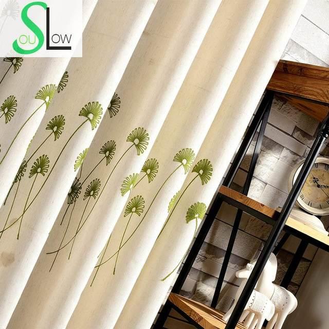 Langsam Seele Grün Baumwolle Polyester Stickerei Vorhang Löwenzahn Amerikanischen  Landhausstil Pastoralen Vorhänge Wohnzimmer Floral Sheer