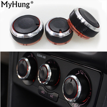 цена на Car Accessories Ac Knob Car Air Conditioning Heat Control Switch Knob For Volkswagen Vw Polo 2014 Aluminum Alloy Black 3Pcs