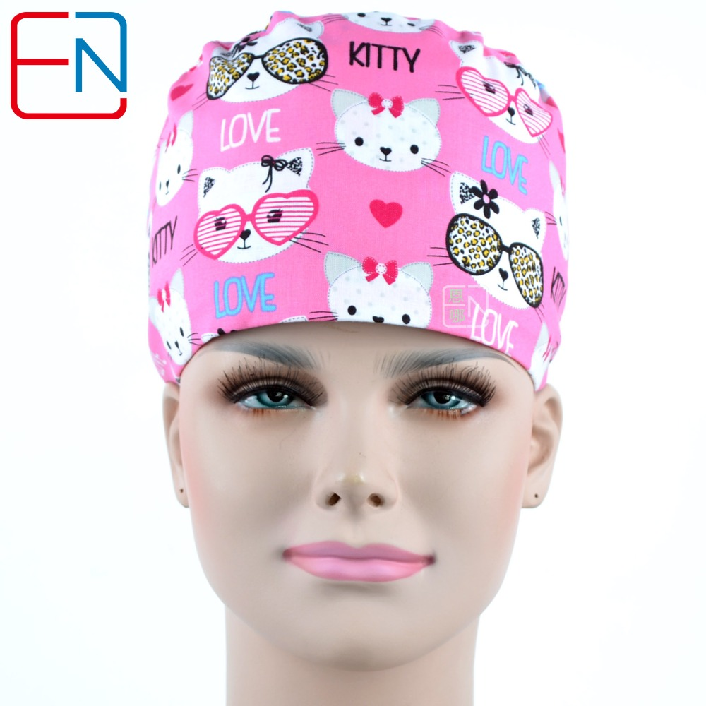 Hennar Doctor Hospital Surgical Caps Women Pink Print Adjustable Medical Cap Clinic Nurse Cotton Hats Masks Medical Accessories