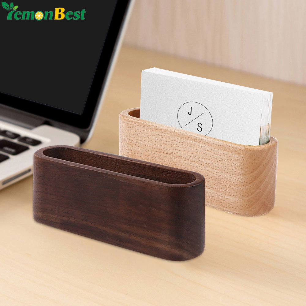 Lowered 1Pcs Desktop Name Card Organizer Wooden Box Business Card ...