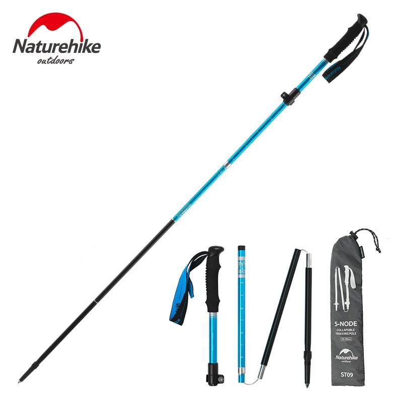 Naturehike Outdoor Aluminum Alloy Folding Trekking Pole 5 Sections Telescopic Walking Stick Camping Hiking Equipment NH17D009-Z