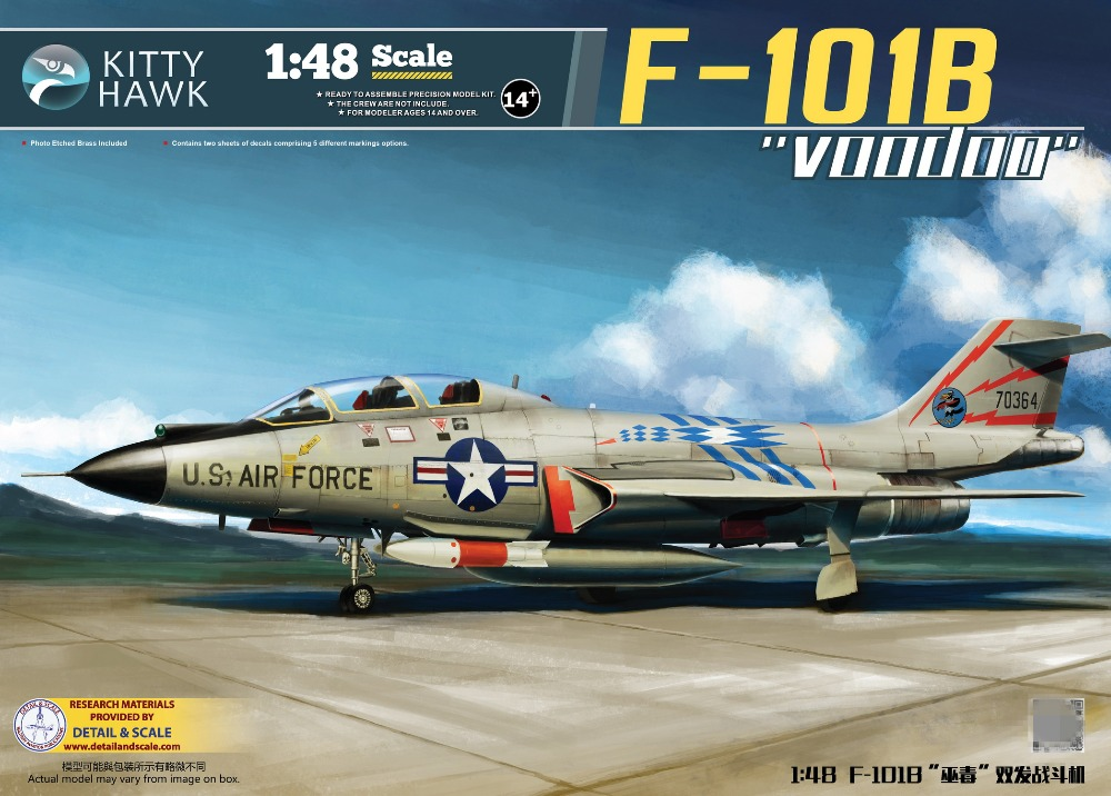 Kitty Hawk 1/48 KH80114 US F-101B Voodoo Fighter Plastic Assembly Model New nail transfer foil holographic green design foil roll star paper fashion nail art decoration diy accessories nail tools wy233