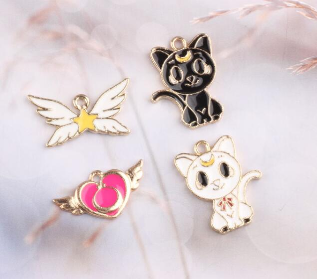6 x Enamel Black Rabbit Bunny Charms Pendants 17mm x 9mm