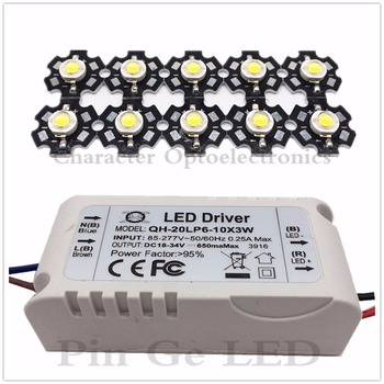 цены 10pcs 3W White 6000-6500K led chip and with 1pcs 6-10x3W led driver for DIY