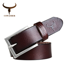 COWATHER 100% cowhide genuine leather belts for men male belt pin buckle new fashion brand design ceinture homme free shipping