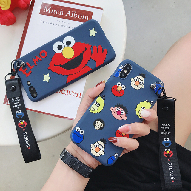 Elmo Phone Cases For iPhone X Cartoon Cute Silicone Sesame Shockproof Soft Wrist Band Cover For iPhone 7 8 Plus 6 6s Plus SH72