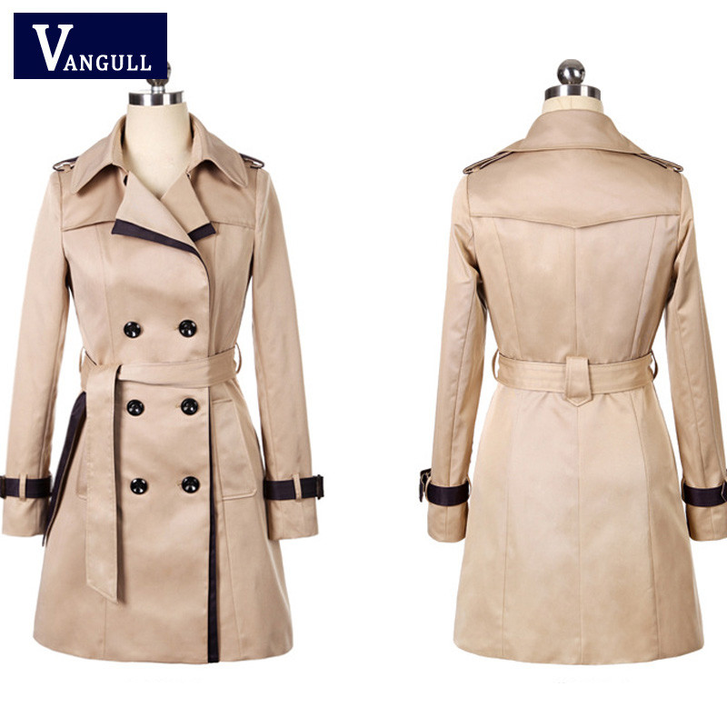 Vangull 19 Fashion Women Thin Trench Coat Turn-down Collar Double Breasted Patchwork Long Trench Coat Slim Plus Size Wind coat 5