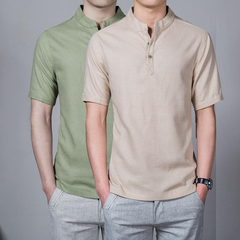 TJWLKJ Plus Size Linen Slim Solid Men Shirt   Polo   5xl Stand Collar Short Sleeve   Polo   Hombre 7 Color Camisa   Polo   Masculina