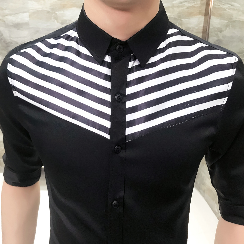 0151b32e7467 Quality Korean Shirt Men Summer 2018 New Slim Fit Striped Mens Shirts  Social Patchwork Half Sleeve Business Tuxedo Shirt 3XL M-in Casual Shirts  from Men s ...
