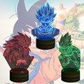 O Envio gratuito de 1 Peças De Dragon Ball Z Son Goku Super Saiyan 3D bulbificação Luz LED Mesa de Luz Da Lâmpada com Controle Remoto Mudança de Cor
