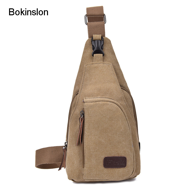 Bokinslon Small Canvas Multifunction Man Crossbody Bag