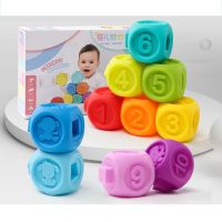 10Pcs Baby Grasping silicone beads Teether Educational Toy Squeeze Bath Ball