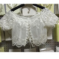Wedding Bolero Lace High Neck Short Sleeve Custom Made wedding bridal shawl Wrap Bolero Jacket