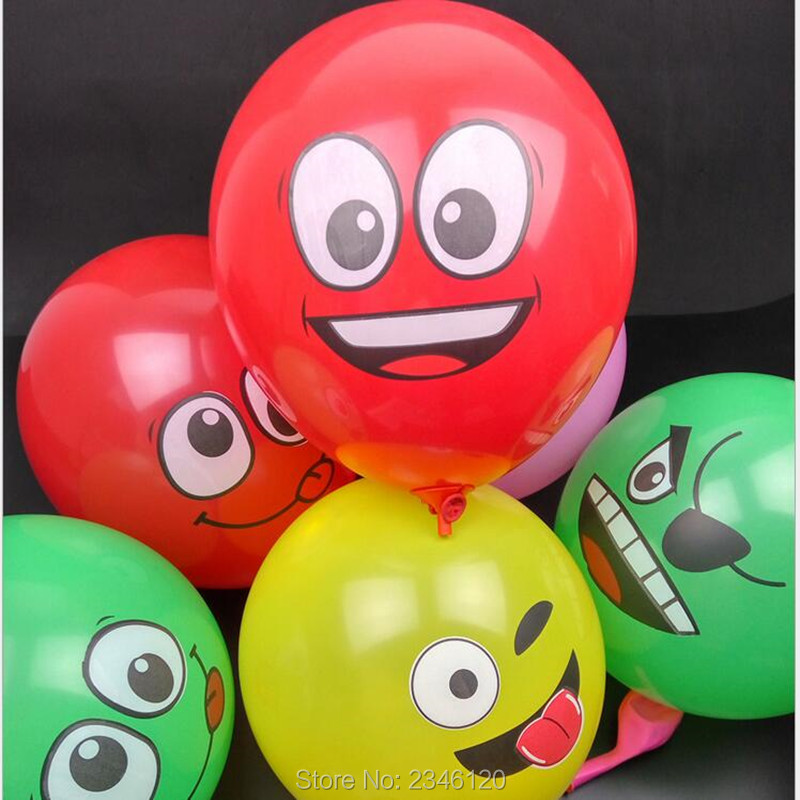 50pcs /lot  12 inch big eyes smiling face balloon  thick balloon big eyes smile
