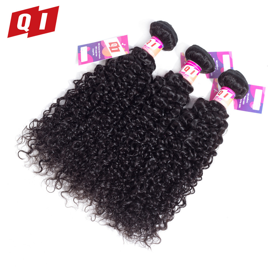 QI Hair Kinky Curly 3 Bundles Deal Mongolian Human Hair Non Remy Hair Extension Natural Color 8-26 Inch Free Shipping