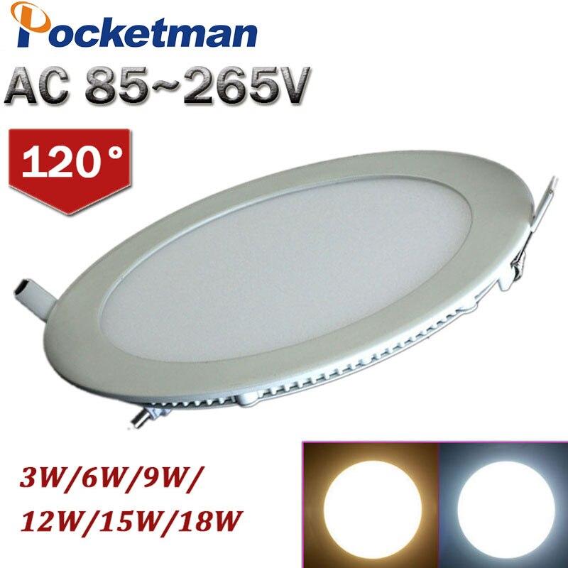 Светодиодный светильник 18 Вт 15 Вт 12 Вт 9 Вт 6 Вт 3 Вт 85 ~ 265 В 110 В 220 В светодиодный потолочный светильник Встраиваемый светильник потолочный све...