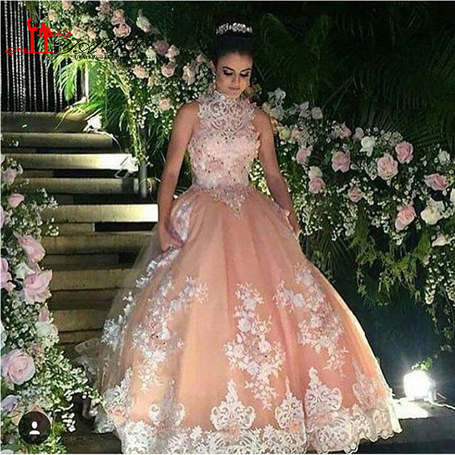Dark Pink Hollow Lace High Neckline Disney Princess Ball Gown 2017 ...