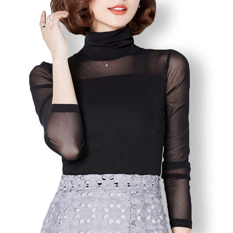 a93a3a98a1d5 Blusa negra de encaje Sexy camisa de cuello alto elástica para mujer Blusas  casuales para mujer Blusas sólidas femeninas 2019 Tallas grandes
