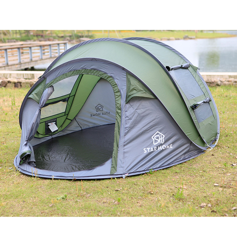 High Quality Outdoor 3-4 persons Automatic Speed open Throwing Pop up Windproof Waterproof Beach Camping Tent Large Space 3 4 person automatic 4 seasons ultralarge high quality waterproof windproof camping family tent