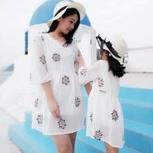 Летняя семейная одежда платье для мамы и дочки модная платья