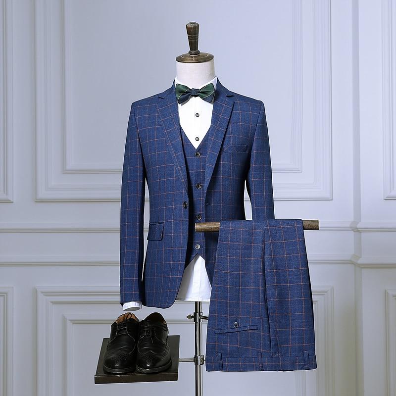 Mens 3pcs tailor suit jacket with pants vest Tuxedo wedding suits for Men red blue plaid slim fit formal suit prom business 2018
