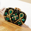 2017 New Peacock Shape Evening Bag Emerald Green Stone Crystal Luxury Clutch Bag Diamond Ladies Handbags Party Purse Wedding Bag