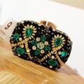 2017 New Peacock Shape Evening Bag Emerald Green Stone Crystal Luxury Clutch Bag Diamond Ladies Handbags Party Purse Wedding Bag