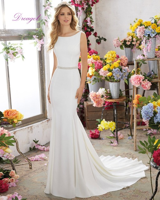 Dreagel Luxurious Crystal Beaded Sashes Wedding Dresses 2016 Popular Back Spaghetti Straps Beaded Satin Mermaid Vestido de Noiva