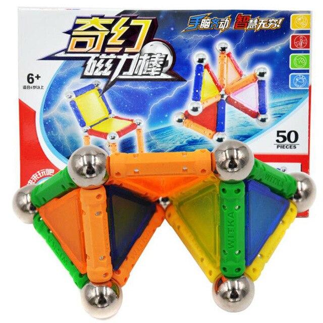 50Pcs Mini Magnetic Designer Magnet Bars Metal Balls Kid Building Blocks Toy Construction Accessories DIY Educational Funny Toys