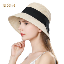 SIGGI Summer Straw Sun Hats For Women Solid with Bow Adjustable Wide Brim Sweatband Summer Breathable Female 69087