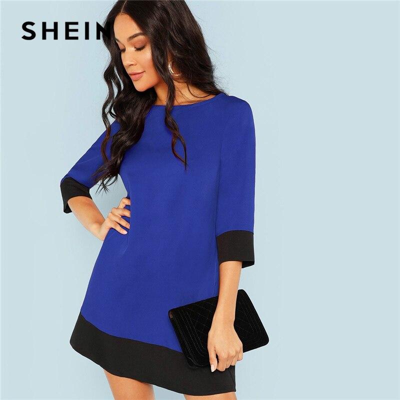 SHEIN Blau Ausgehen Kontrast Trim Tunika Drei Viertel Länge Sleeve Umschalt Colorblock Kleid Herbst Moderne Dame Frauen Kleider