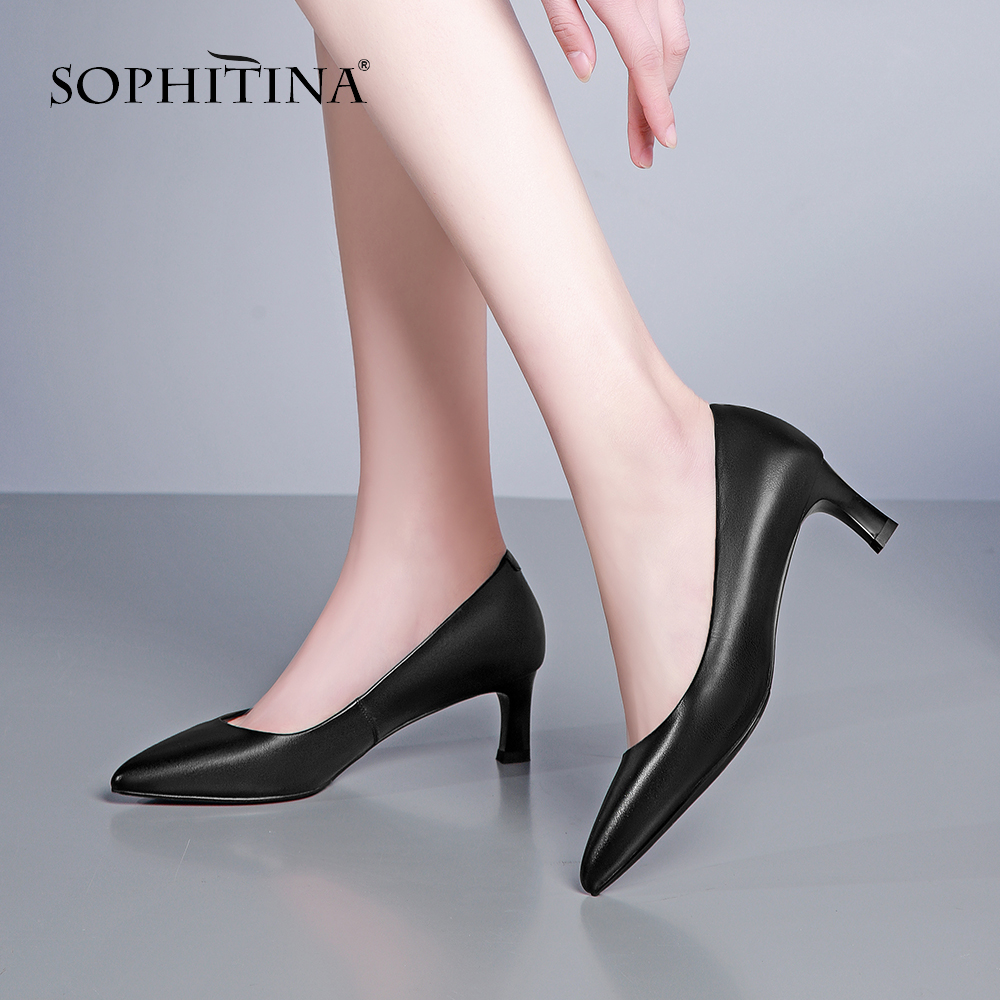 SOPHITINA Thin Heels Office Shoes Women Pumps Genuine Leather Pointed Toe Super High Heel Shallow Mature Career Basic Pumps POB1