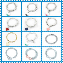 SHINETUNG TIFF Original 100% S925 Sterling Silver Heart-Shape Beaded(8mm) Trendy Bracelet Women Logo Luxury High-End Jewelry