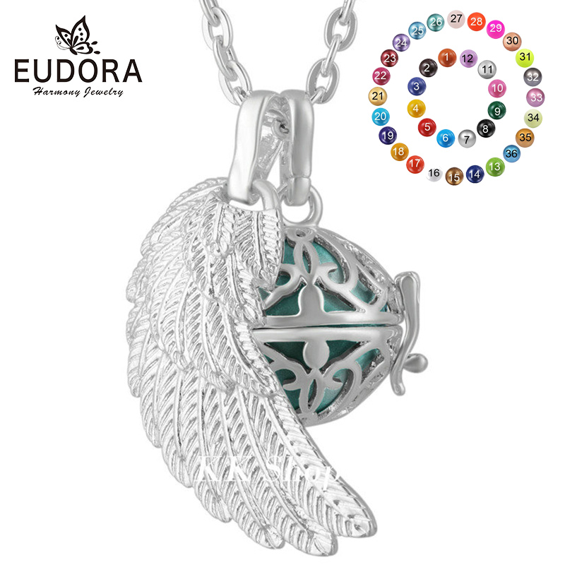 Eudora 16mm Mexican Pregnant Bola Necklace Aromatherapy Cage Pendant Angel Caller Sound Harmony Bola Ball Women Jewelry FH169