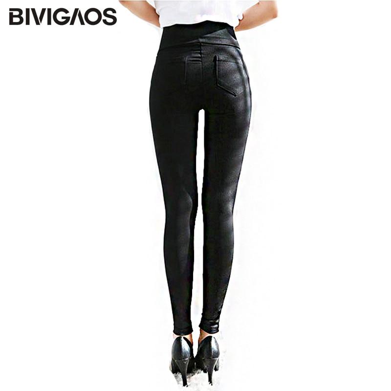 BIVIGAOS Spring Summer Fashion Womens Black Casual Elastic High Waist Leggings Trousers Pocket Pencil Pants Skinny Slim Female 1