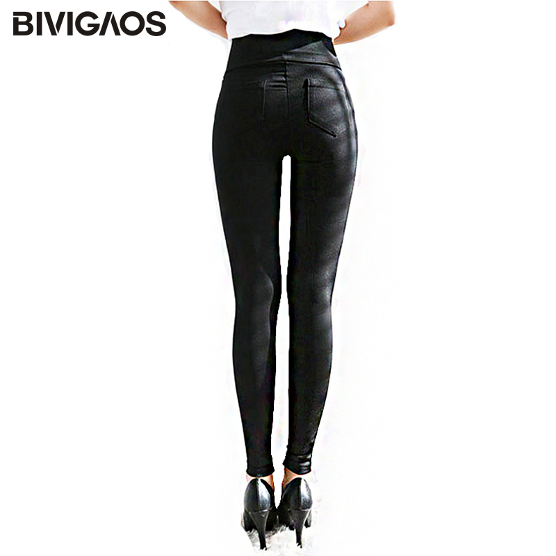 BIVIGAOS Spring Summer Fashion Womens Black Casual Elastic High Waist Leggings Trousers Pocket Pencil Pants Skinny Slim Female