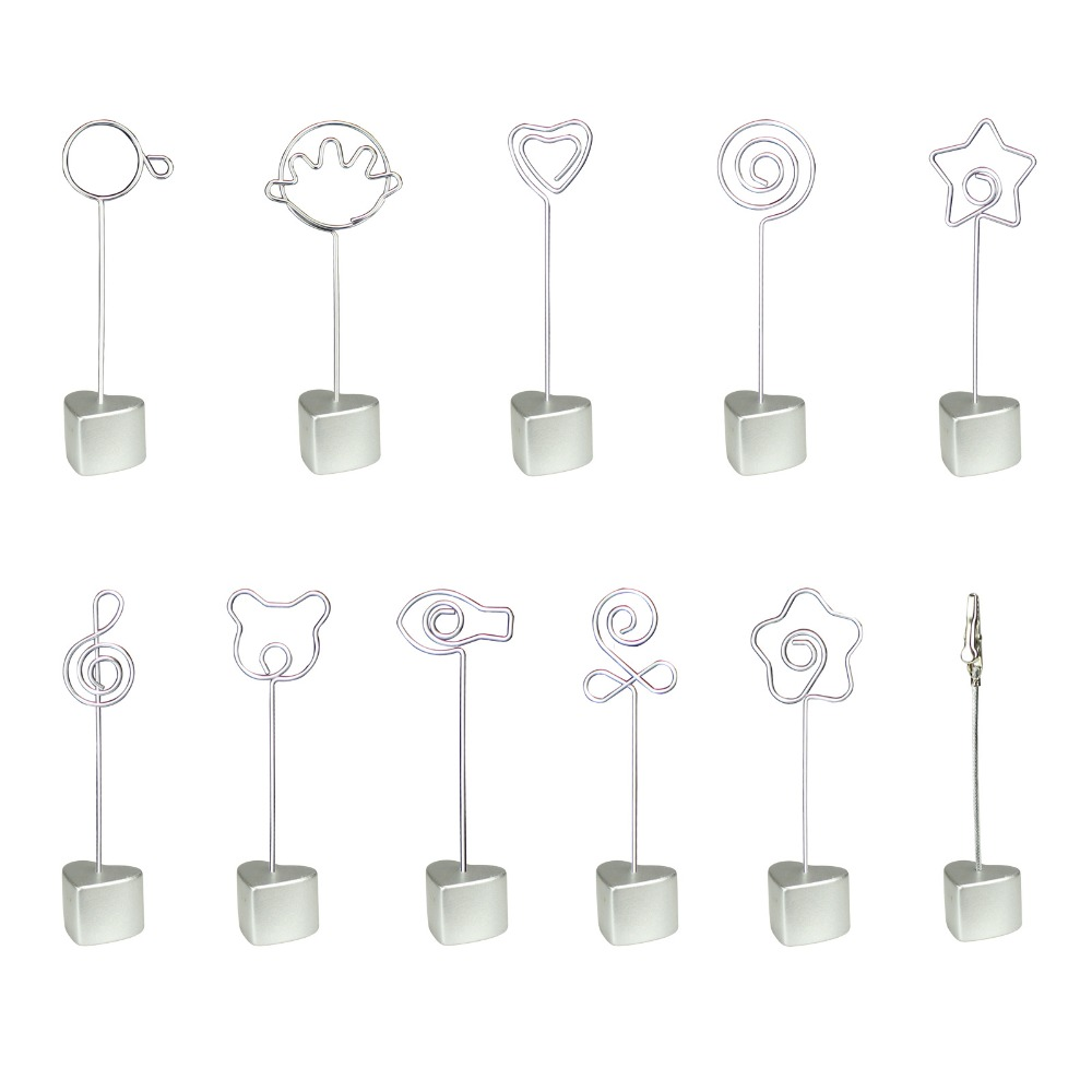 Silver H Heart Stand Wire Card Note Picture Memo Photo Clip Holder Table Place Favor Customized