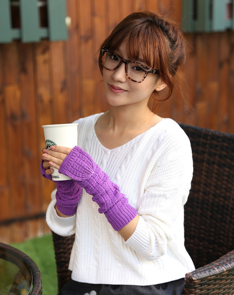 Solid Color Button Winter Knitted Women's Gloves Grid Wrist Arm Warmer Short Fingerless Knit Mitten