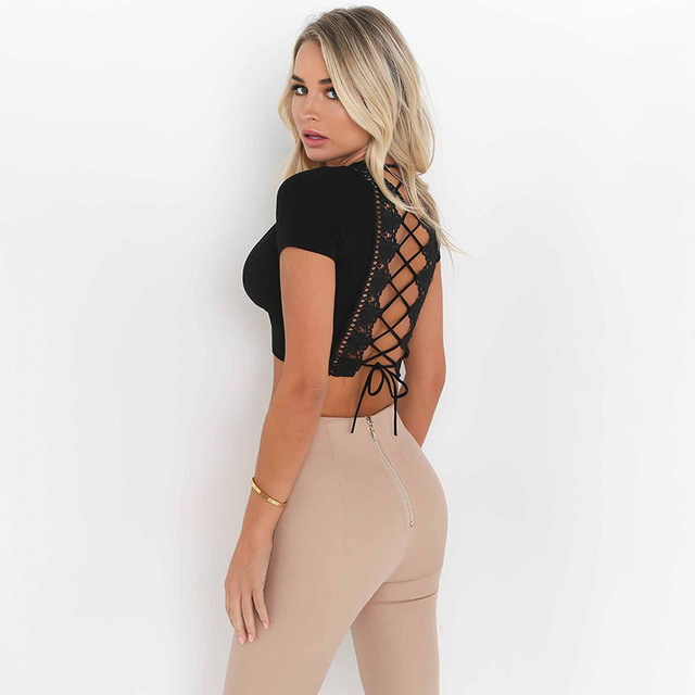Women Sexy V Neck Back Lace Up Crop Tee Lace Insert Backless Crop T Shirt  Summer Short Sleeve Crop Tops Blusas a7f0a9201