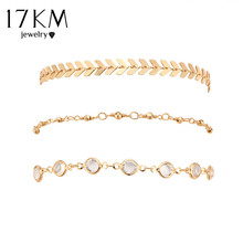 17KM Crystal Sequins Anklet Set Vintage Beach Foot jewelry Statement Anklets Summer Boho Style Party Jewelry For Women 3Pcs/lot