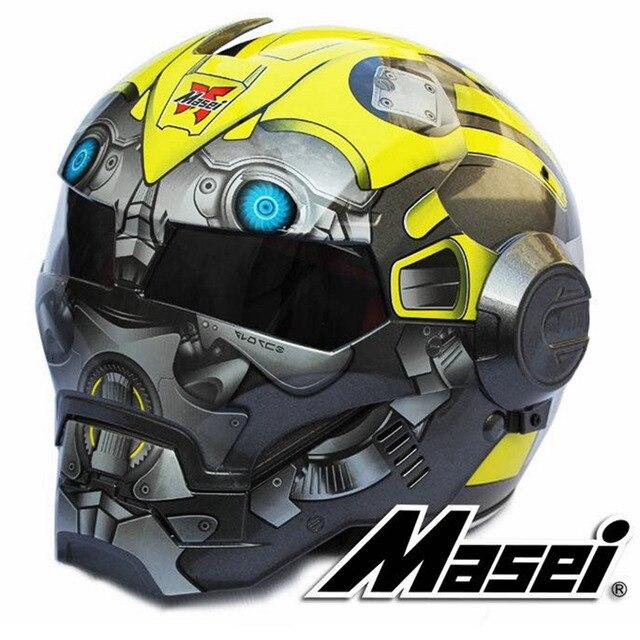 2017 Nova Bumblebee MASEI 610 IRONMAN Homem De Ferro capacete capacete da motocicleta metade capacete aberto da cara do capacete casque motocross S M L XL