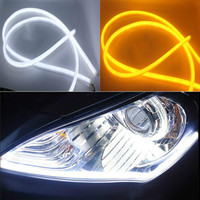2 X 45cm 18inch DIY White Amber Flexible Strip Daytime Running Light Turn Signal Lamp Angel