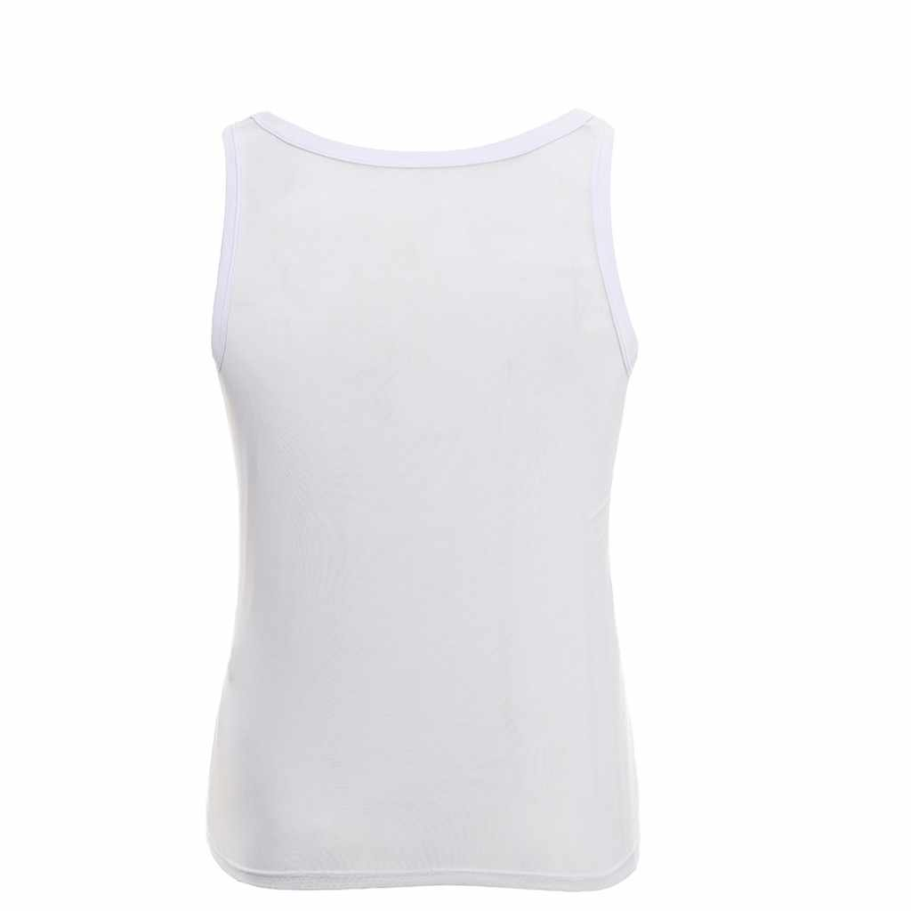 MUQGEW Sexy Men Elastic Mesh Vest Breathable Mesh Sexy Men's See-through Breathable Sleeveless Shirts Vest Casual Sleepwear#4