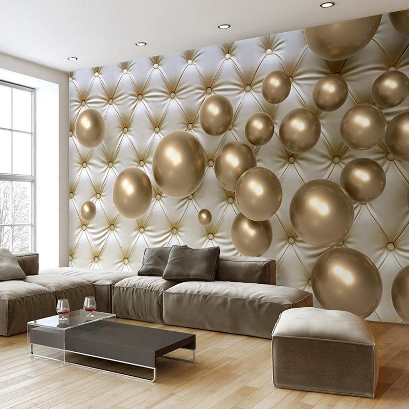 3d modern living decor mural abstract golden soft ball interior wallpapers