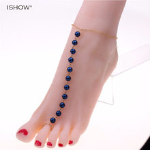 beach foot jewelry beads ankle bracelet blue pink anklets for women Pulseras tobilleras pearl bracelet jewelry chaine cheville