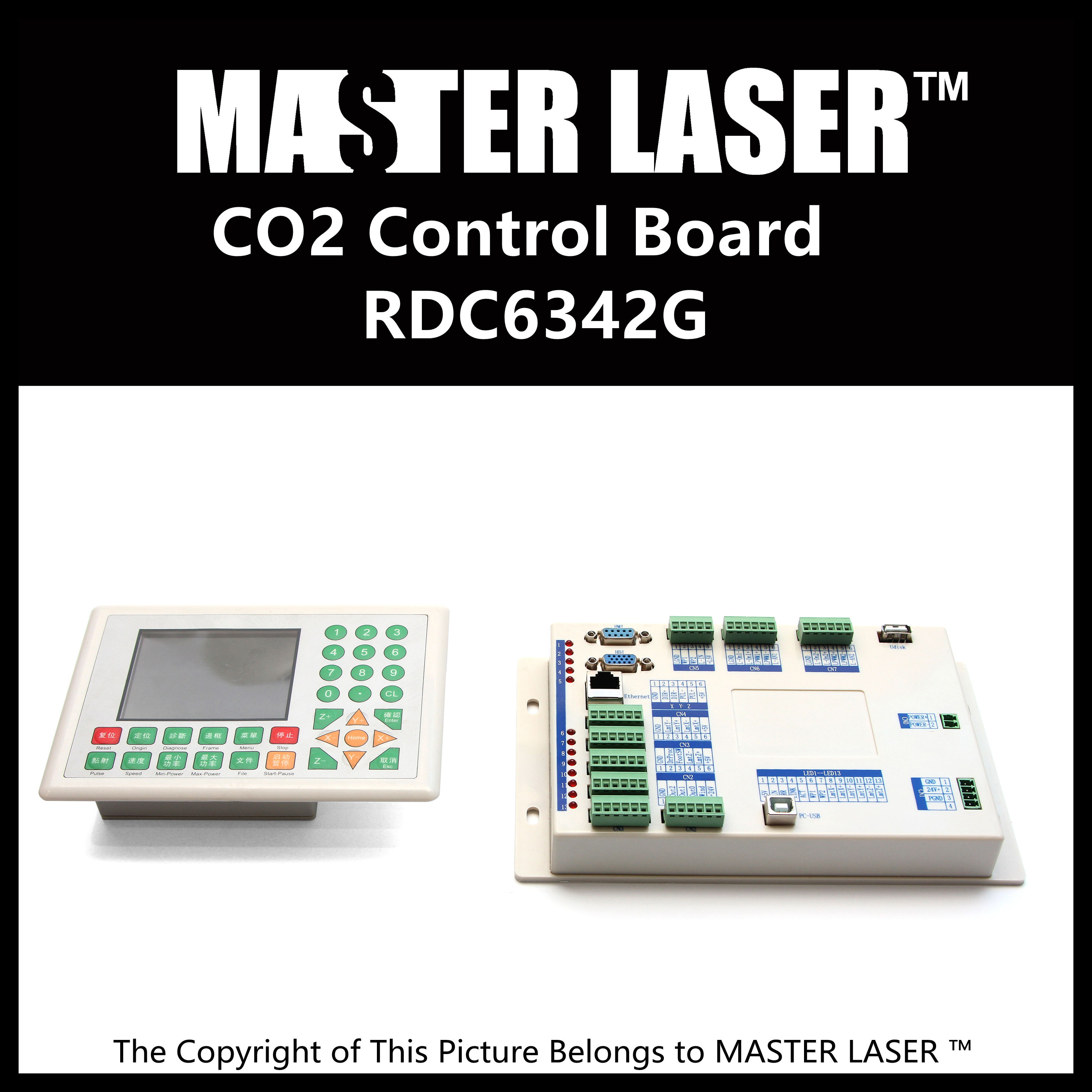 New Generation Colorful Display Laser Engraving Cutting Control System RDC6342G Laser Control Board System
